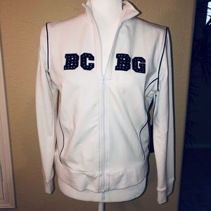 BCBG Maxazria white jacket with blue letters